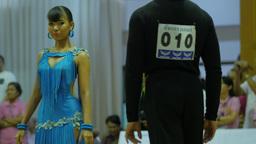 Thai couple start Cha-Cha-Cha dance at contest,Ubon Ratchathani,Thailand Footage