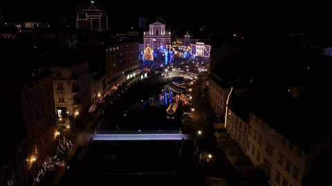 Aerial - City Christmas decoration Footage