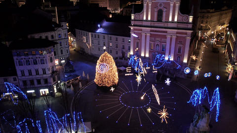 Aerial - Festive city streets Live Action