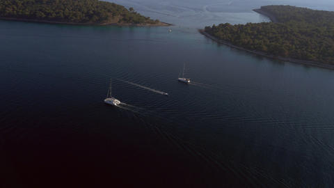 Aerial - Distant shot of sailing nautical vessels Live Action