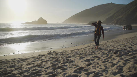 Tourist walks along Pfeiffer beach Footage