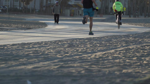 People get exercise near the Santa Monica Pier Footage