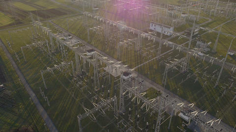 Aerial - Flight over the electric substation at evening Footage