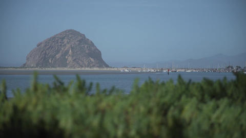 A View Of Morro Bay And Morro Rock stock footage