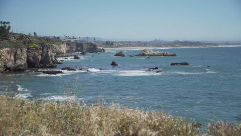 The rugged coast of Pismo Beach, California Footage