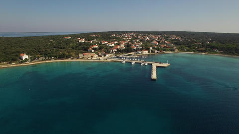 Aerial - Panoramic shot of a coastal village Footage