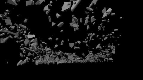 Wall shattering explosion debris Animation