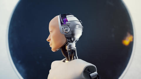 Hi Tech Futuristic Electronic Portrait in Sci-fi Humankind White Isolated Scene Footage