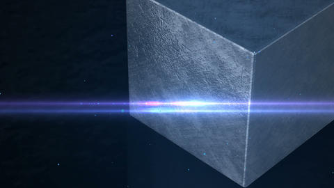 3D Silver metal cube on dark metal surface, business concept Animation