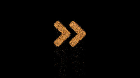 Symbol angle double right appears from crumbling sand. Then crumbles down. Alpha channel Animation
