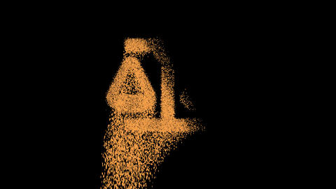 Symbol balance scale appears from crumbling sand. Then crumbles down. Alpha channel Premultiplied - Animation