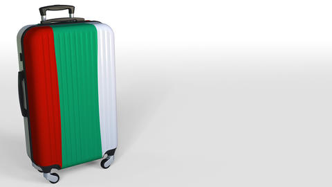 Traveler's suitcase with flag of Bulgaria. Bulgarian tourism conceptual 3D Footage