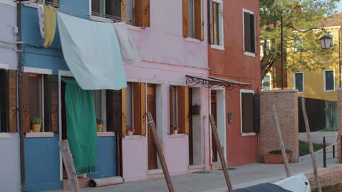 Colorful residential facades of italian Burano Live Action