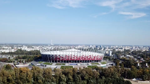 European town drone video to the stadium national Warsaw symbol GIF