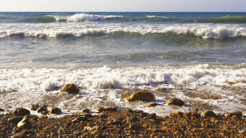 Atlantic waves crashing on rocky coast Footage