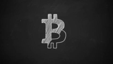 hand drawing of Bitcoin symbol with white chalk on blackboard Animation