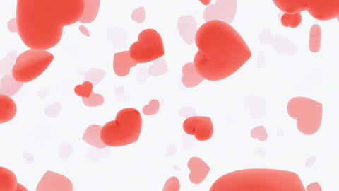 Endless tunnel of rotating red hearts Stock Video Footage