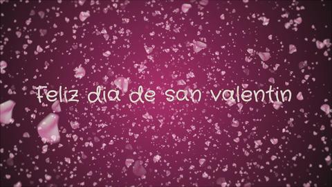 Animation Feliz dia de san Valentin, Happy Valentine's day in spanish language Footage