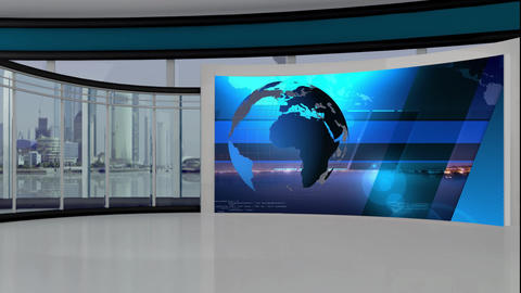 News TV Studio Set 308- Virtual Green Screen Background Loop Archivo