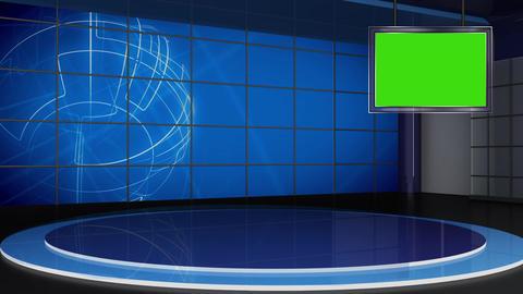 News TV Studio Set 310- Virtual Green Screen Background Loop Footage