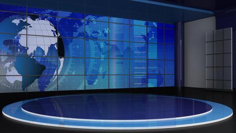 News TV Studio Set 311- Virtual Green Screen Background Loop Footage