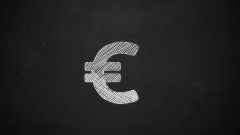 hand drawing line art showing euro symbol with white chalk on blackboard Animation