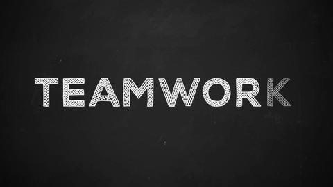 teamwork handwritten with white chalk on a blackboard Animation
