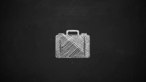 hand drawing line art showing suitcase symbol with white chalk on blackboard Animation