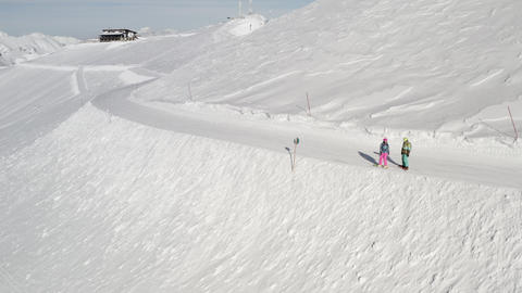 Snowboarders Standing on the Snow slope Footage