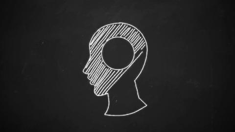 hand drawing line art showing human head symbol with... Stock Video Footage