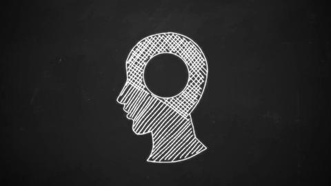 hand drawing line art showing human head symbol with white chalk on blackboard Animation