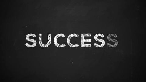 success handwritten with white chalk on a blackboard Animation