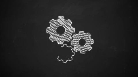 Animation of rotation gears in hand drawing style Animation