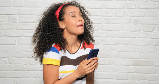 Happy Euphoric Girl Woman Reading Good News On Mobile Telephone Archivo