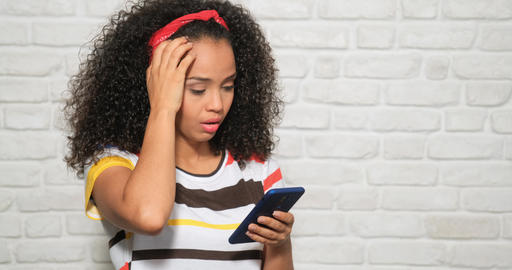 Sad Desperate Girl Woman Receiving Bad News On Cell Phone Live Action