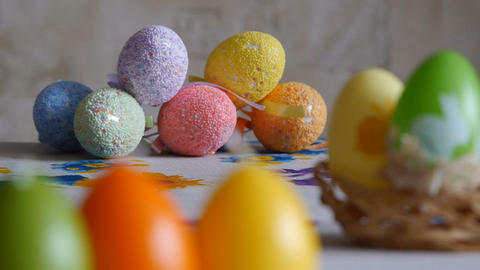 Close-up. Candles made in shape of easter egg. Easter eggs candles and colorful Footage