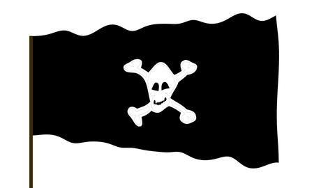 Pirate waving black flag with image of human skull… Stock Video Footage