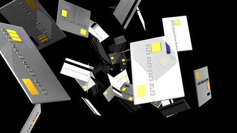 Gray Credit cards on black background Animation