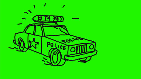 Police Patrol Car Speeding Cornering Drawing 2D Animation Animation