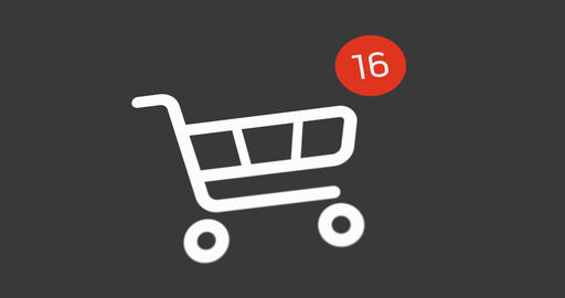 shopping cart icon with counter added online commodity on white background Live Action