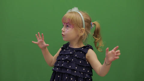 Happy three years old girl. Cute child. Dancing and make faces. Chroma Key Live Action