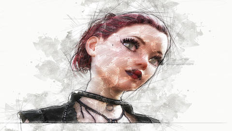 Digital Animation of an artistic Sketch, based on a self-created 3D Illustration of a Female, Animation