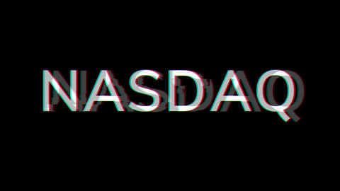 From the Glitch effect arises World stock index NASDAQ. Then the TV turns off. Alpha channel Animation