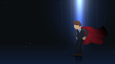 Superhero standing in spotlight. Business symbol. Leadership and Achievement concept. Comic loop Animación