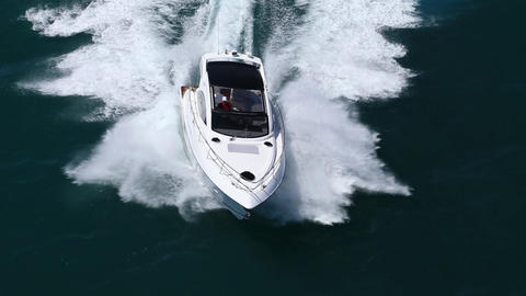 Fast Boat 03 - Aerial View Footage