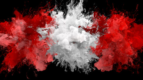 Red White Color Burst - Multiple colorful smoke explosions fluid particles alpha Animation