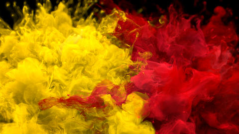 Yellow Red Color Burst Multiple colorful smoke explosions fluid particles alpha Animation