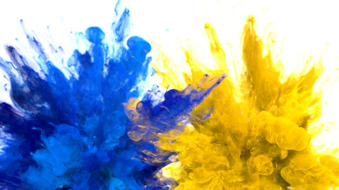 Blue Yellow Color Burst Multiple colorful smoke explosions fluid particles alpha Animation