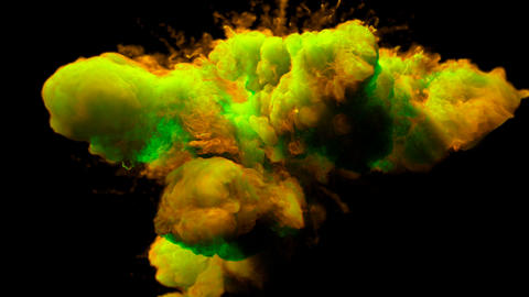 Green Yellow Color Burst - colorful smoke powder explosion fluid ink alpha matte Animation