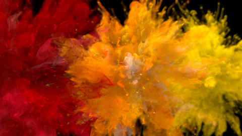 Red Orange Yellow Color Burst - Multiple colorful smoke explosions fluid alpha Animation